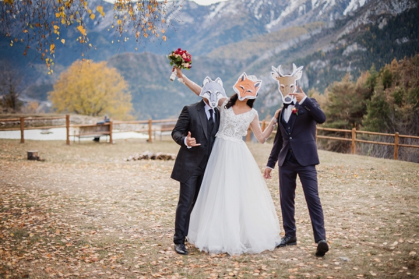 autumn wedding photo booth masks