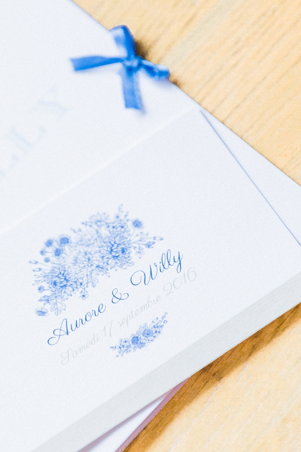 Blue and white wedding invite