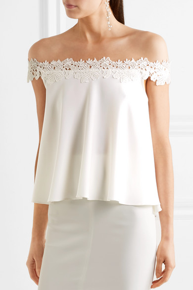 Carla off the shoulder lace trimmed crepe top