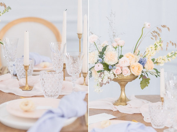 pastel coloured wedding styling
