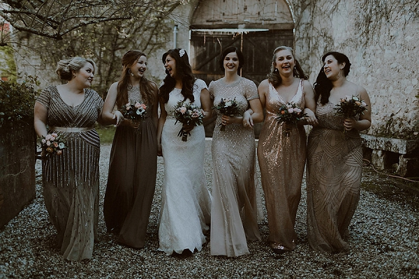 shimmery bridesmaid dresses