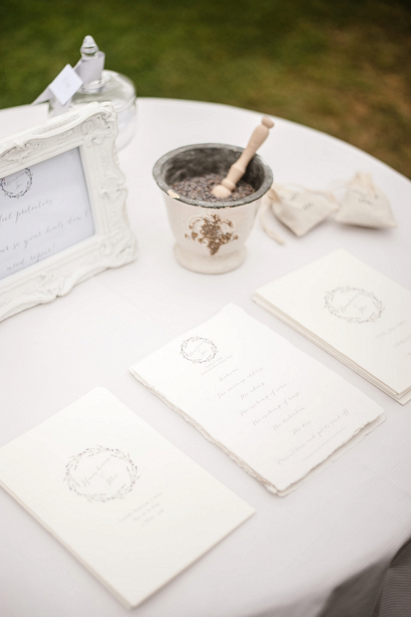 white wedding stationery