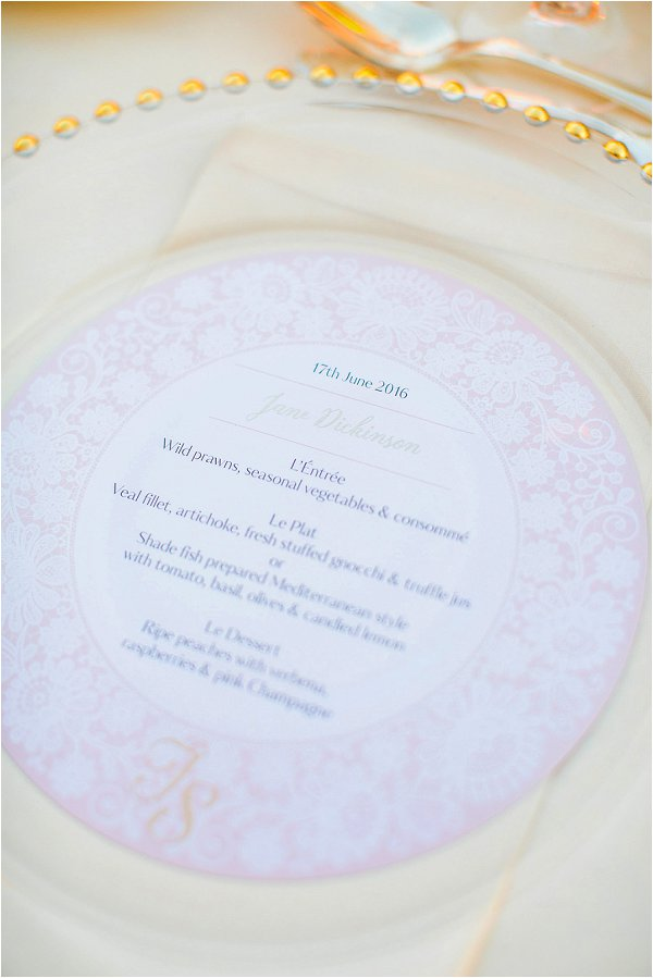 Louise Richardson French Wedding Stationery French Menu Plate