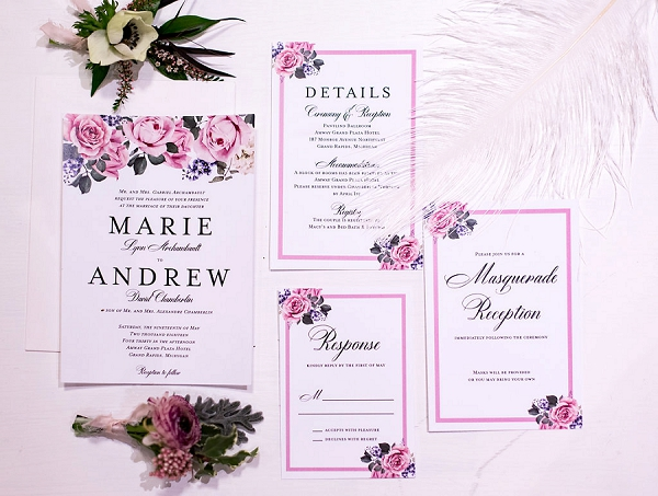 Pink inspired wedding stationery