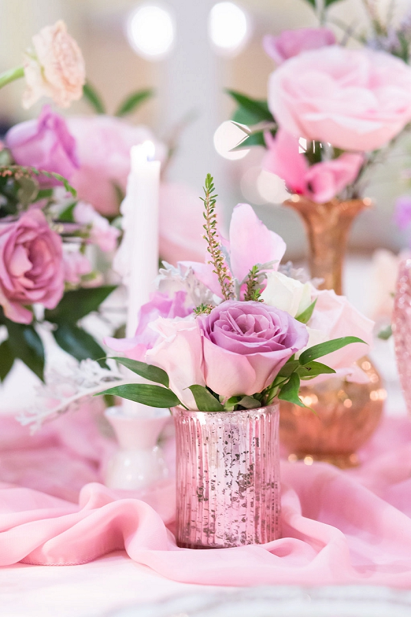 Pink rose floral centerpieces