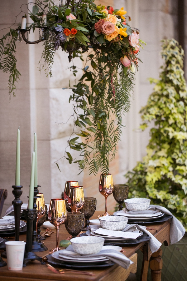 Rose gold wedding table ideas