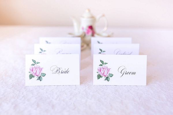 Rose inspired name cards