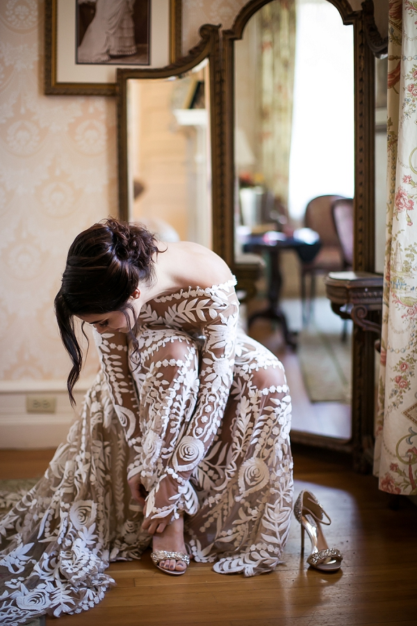 Stylish nude wedding gown