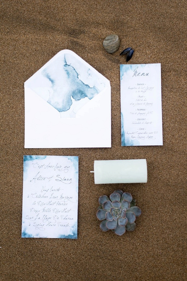 Winter inspired wedding stationery