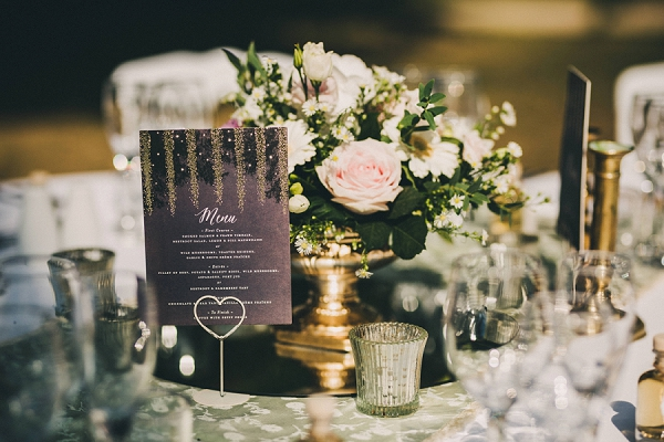 gold accent wedding decor