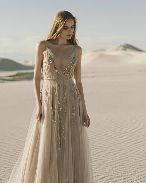 Beige floral wedding dress