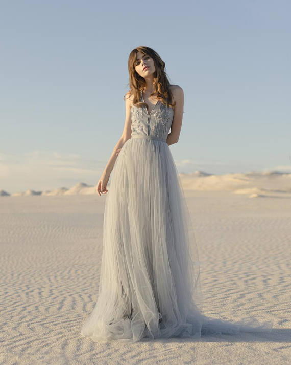 blue and gray tulle wedding dress