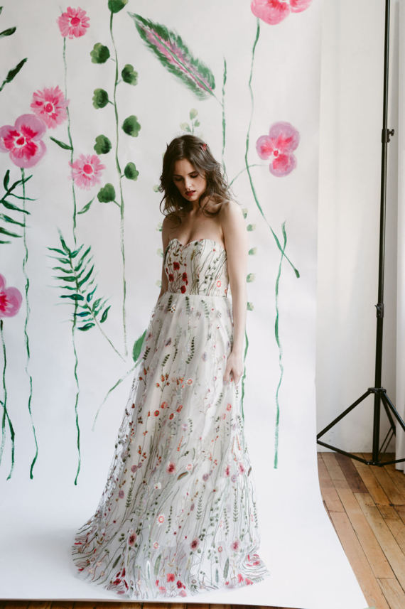 boho floral print wedding dress