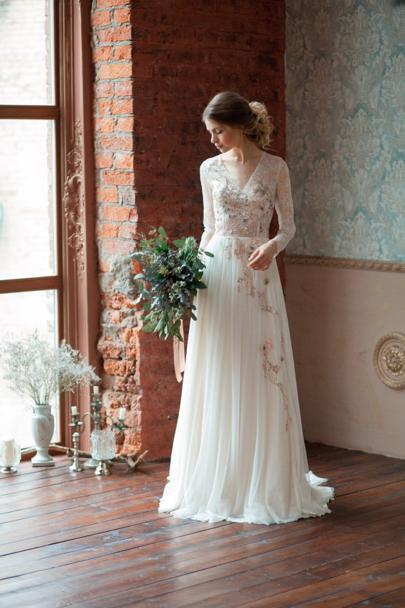 floral fine art wedding dress Gloria