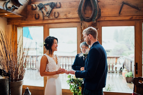 indoor french alps wedding ceremony