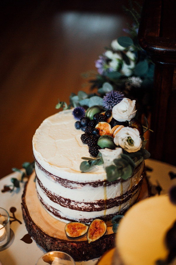 rustic berry wedding cake