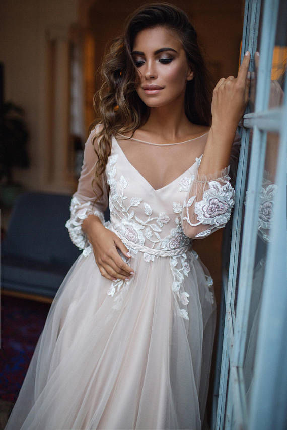 sleeve boho etsy wedding dress