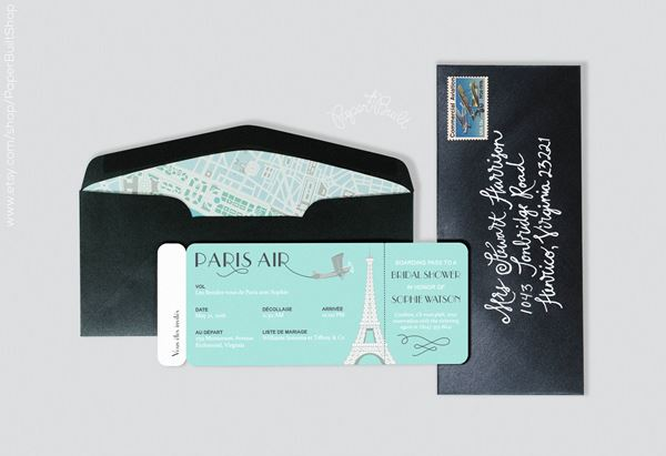 French Wedding Invite Paris Air Boarding Pass