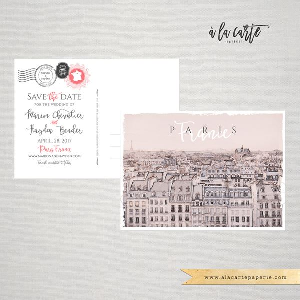 French Wedding Invite Paris Illustration