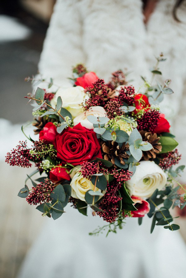 red, green and white bridal bouquet