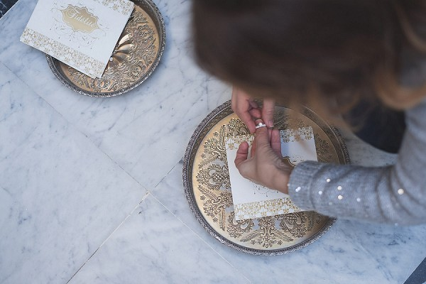 Gold Moroccan inspired wedding stationery