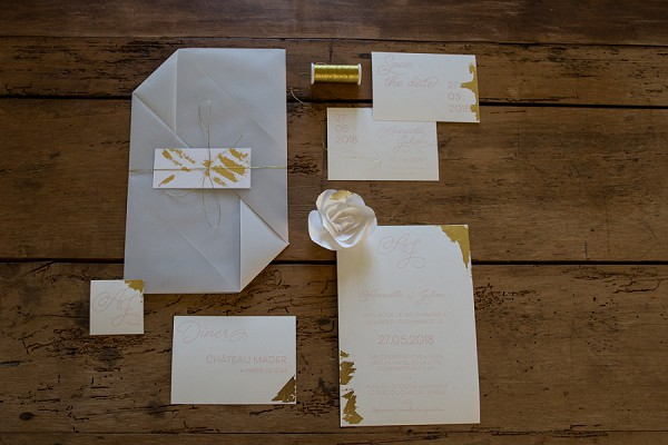 Gold inspired wedding stationery