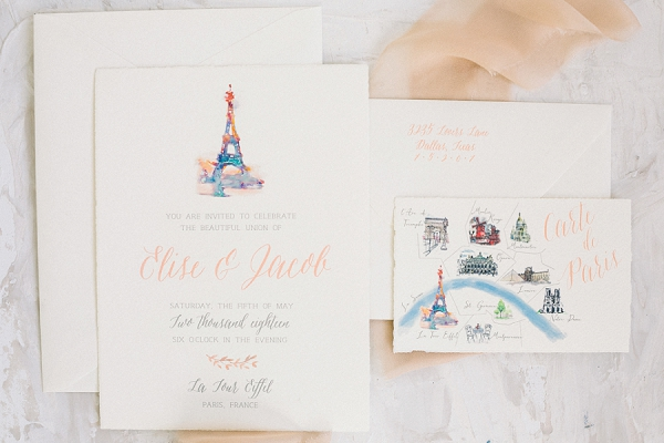 parisian wedding invite suite