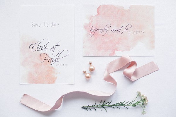 water paint inspired wedding stationery