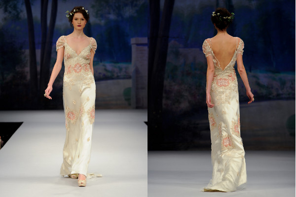 print satin wedding dress