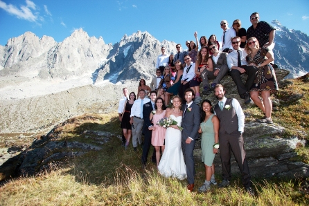 wedding guests on mountain