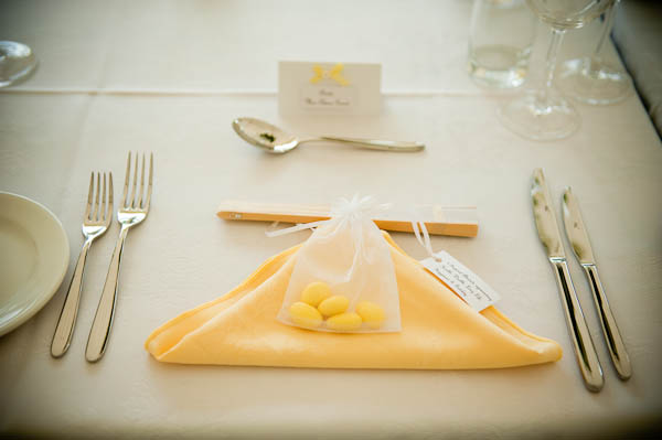 yellow and white wedding table