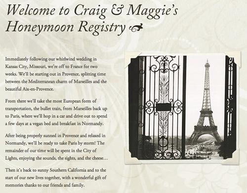 honeymoon gift list france