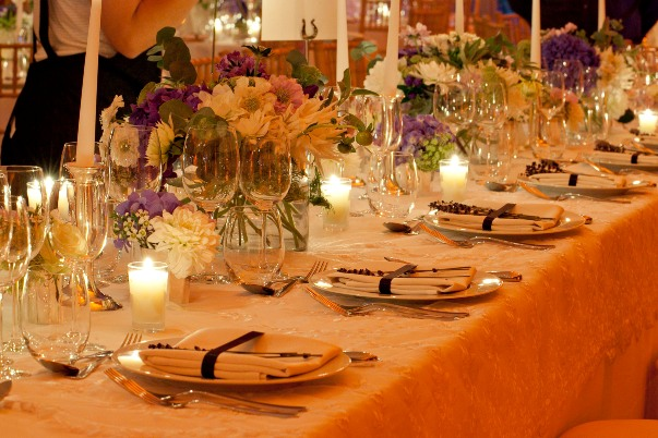 lavender and white wedding decoration