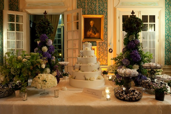 lilac and white dessert table
