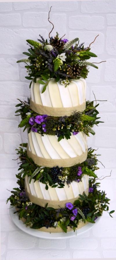 wild flower wedding cake