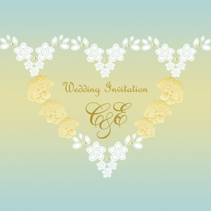 blue lace wedding invite