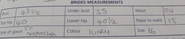 brides measurements