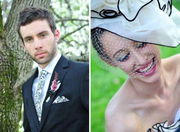 chic wedding couple