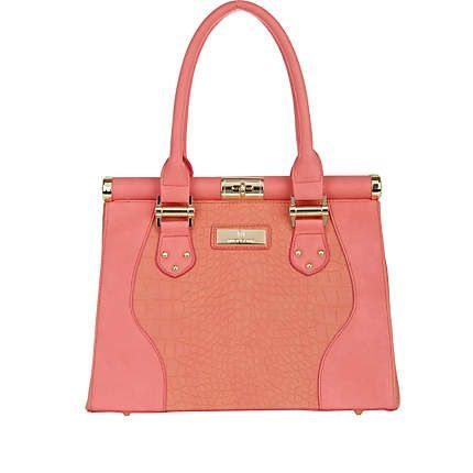 coral pink hand bag