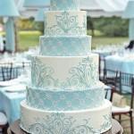 french blue and white wedding cake