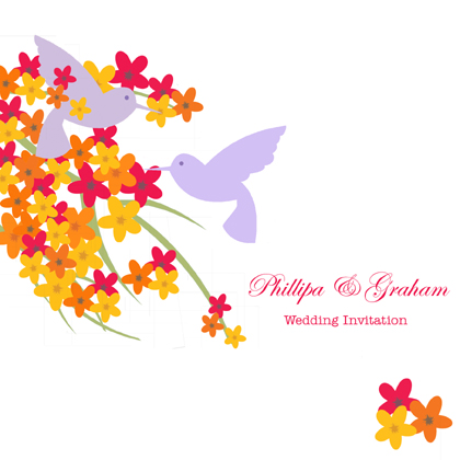jewel blossom & hummingbird-wedding invite