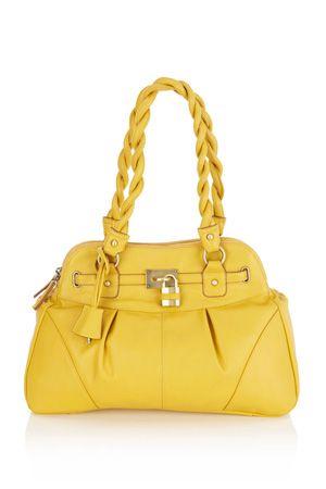 yellow twist handbag