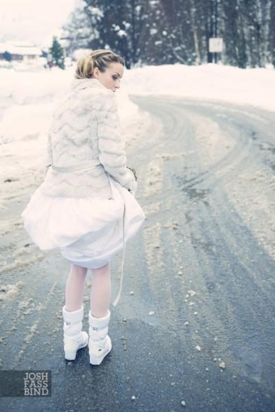 bride in snow boots
