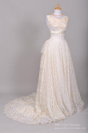 1950 vintage lace wedding dress