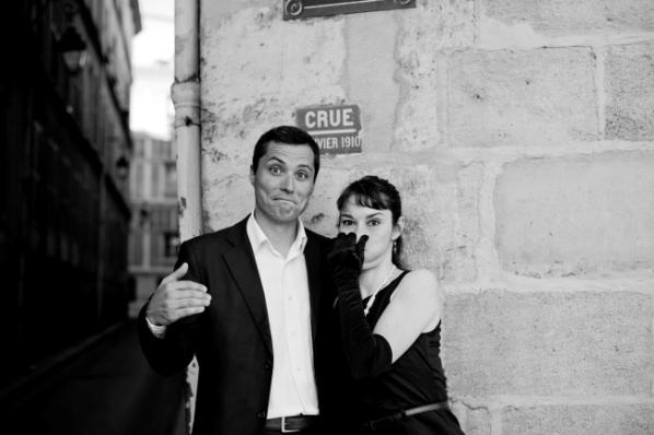 black and white engagement paris