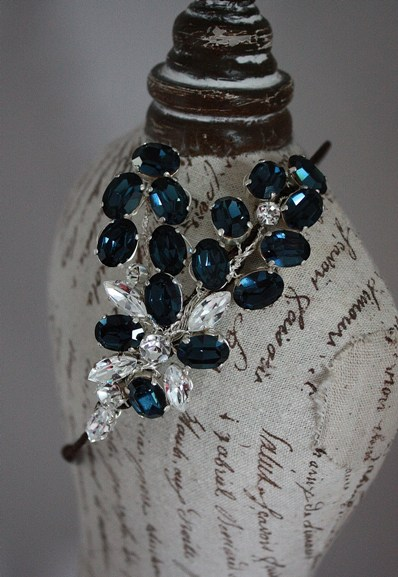blue vintage headdress