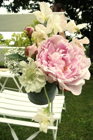 oversize flowers on chairs for aisle wedding decorations #flowers
