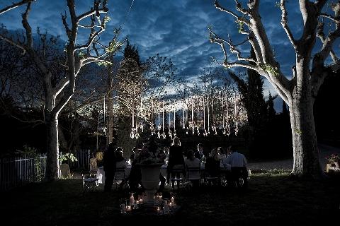 dramatic night wedding