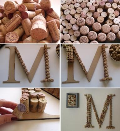 diy project wine corks monogram