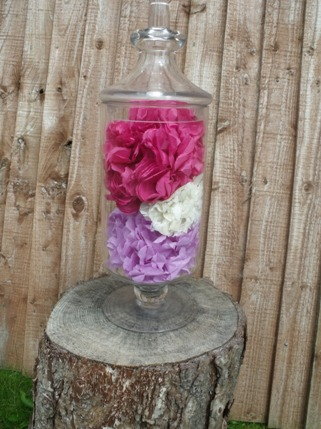 glassed paper flowers